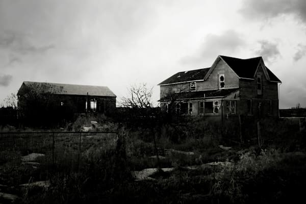 Black & white photograph of a derelict, abandoned farm in rural Ontario, for sale as fine art by Sage & Balm