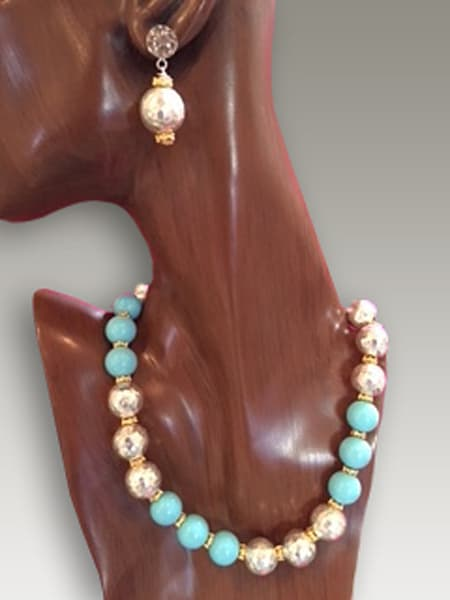 Silver & Turquoise Pearl Necklace & Earrings | Jewelry