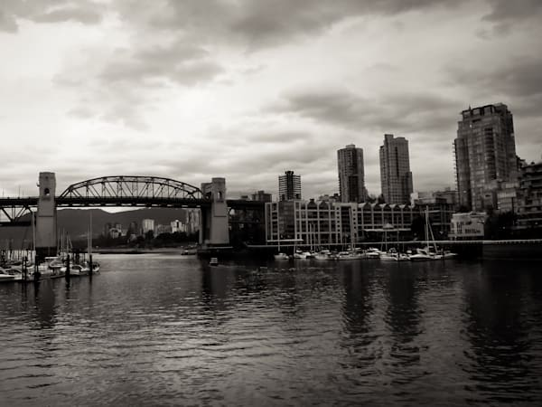 Black & white architectural cityscape photograph of a bridge in Vancouver, for sale as fine art by Sage & Balm