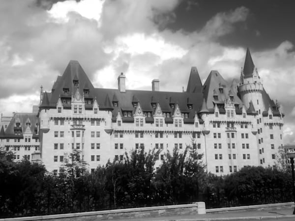 Black & white architectural photograph of the famous Chateau Laurier hotel in Ottawa, for sale as fine art by Sage & Balm