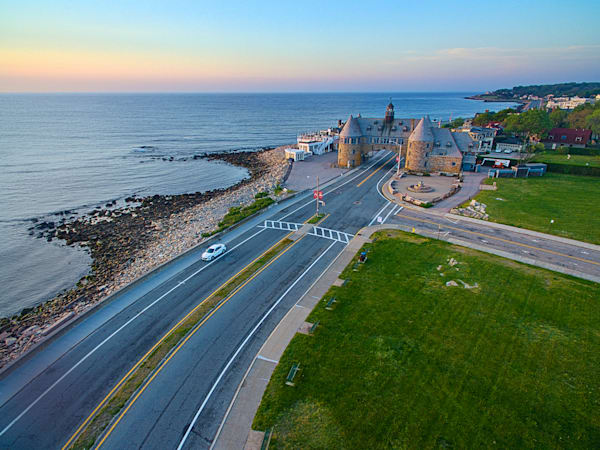 """Aerial Sunrise over Narragansett Towers"" South County RI Fine Art Ocean Beach Photography"