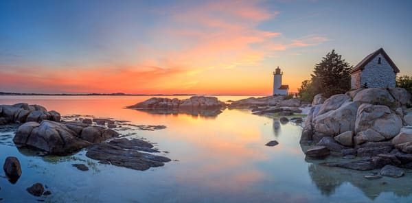 """Annisquam Sunset Panorama II"" Fine Art Gloucester MA Lighthouse Panoramic Photography"