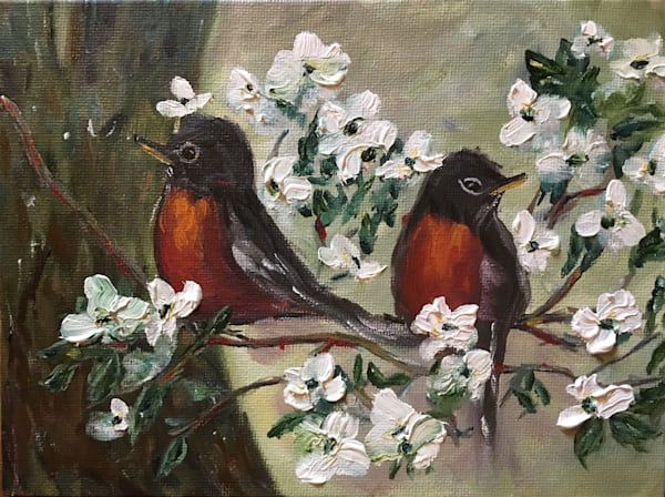 Spring Robins oil painting