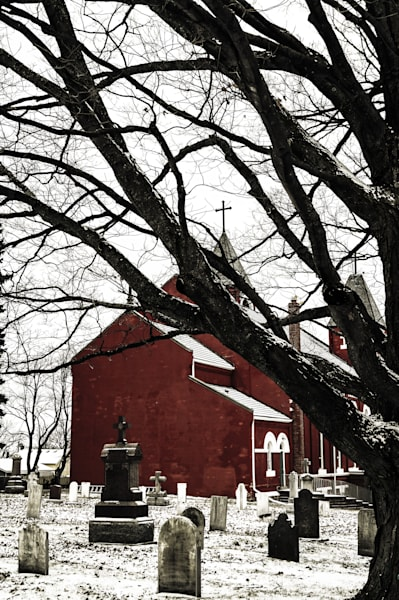 Color photograph of a burgundy red country church from rural Ontario, for sale as fine art by Sage & Balm