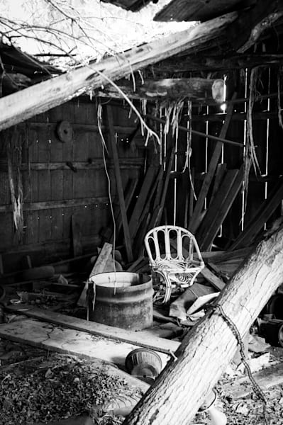 Black & white rural decay photo of a collapsing shed or barn in rural Ontario, for sale as fine art by Sage & Balm