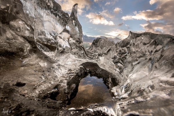 wide angle abstract of glacial ice