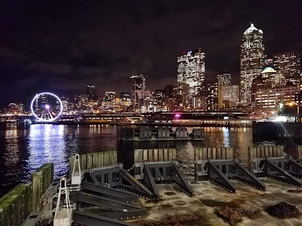 Seattle Lights, Ferry at Night