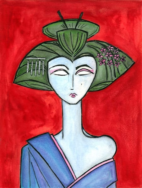 American Maiko with Red Background Original Painting by Wet Paint NYC Artist Paul Zepeda