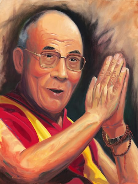 Portrait painting of the 14th Dalai Lama of Tibet by Steve Simon