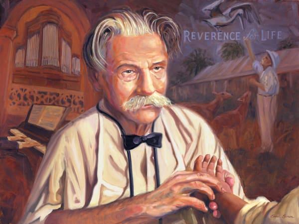 Oil painting portrait of Albert Schweitzer by Steve Simon