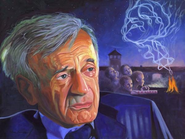 Elie Wiesel portrait painting by Steve Simon