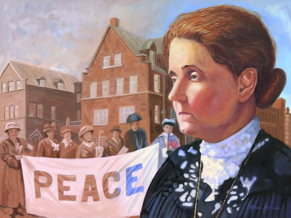 Oil painting portrait of Jane Addams by Steve Simon