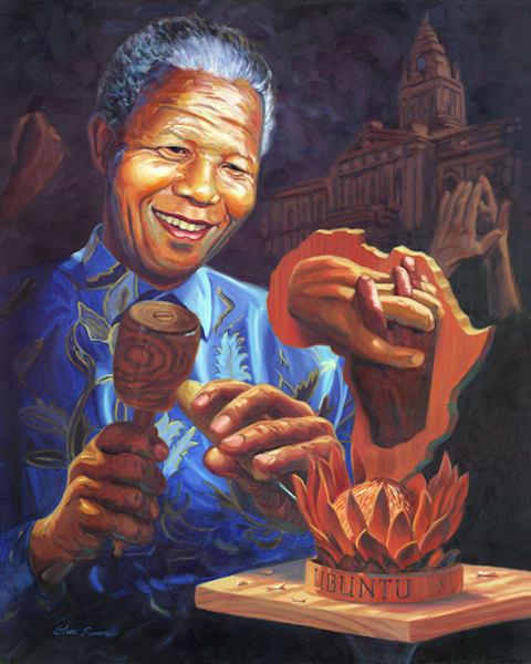 Nelson Mandela Portrait Painting by Steve Simon
