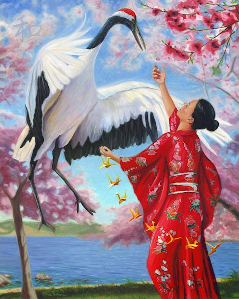 Figurative oil painting of Sadako Sasaki by Steve Simon