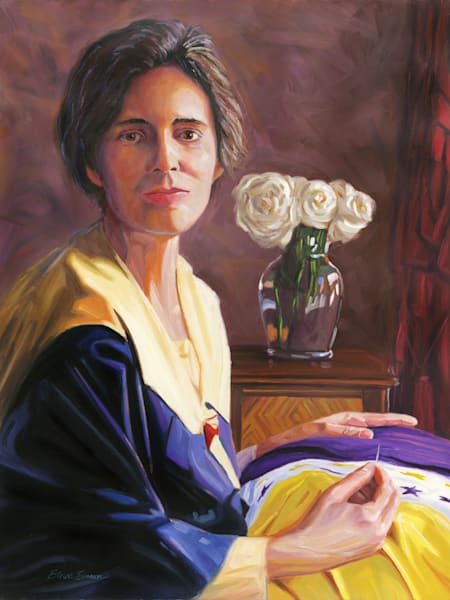 Oil painting portrait of Alice Paul by Steve Simon
