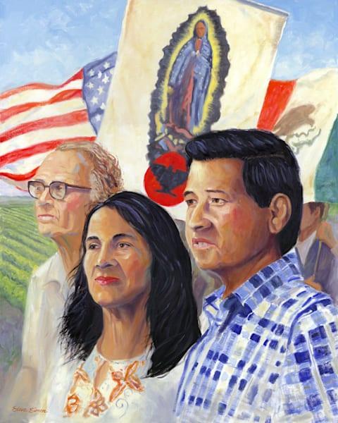 Oil painting portrait of Cesar Chavez by Steve Simon