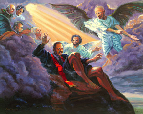 Allegorical oil painting of Martin Luther King Jr. looking over the Promised Land by Steve Simon