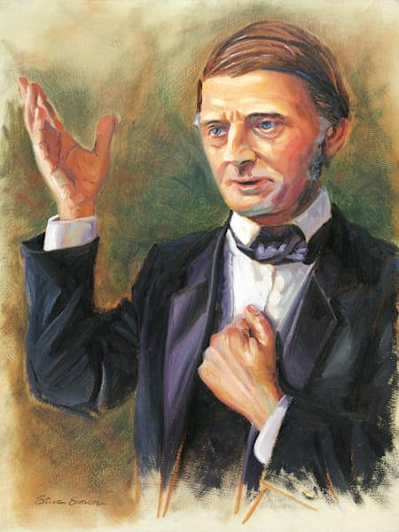 Ralph Waldo Emerson Portrait Painting by Steve Simon