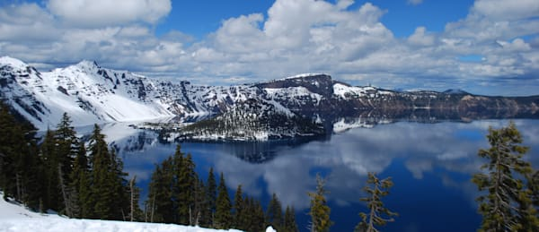 Crater Lake, snow and clouds