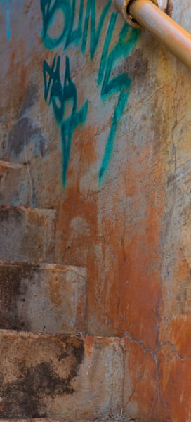 Teal and orange graffiti stairwell photo for sale  Barb Gonzalez Photography