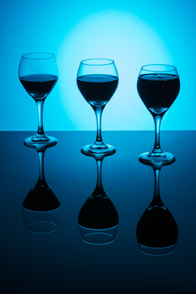 Fine Art Photograph of Wine Glasses Reflections by Michael Pucciarelli