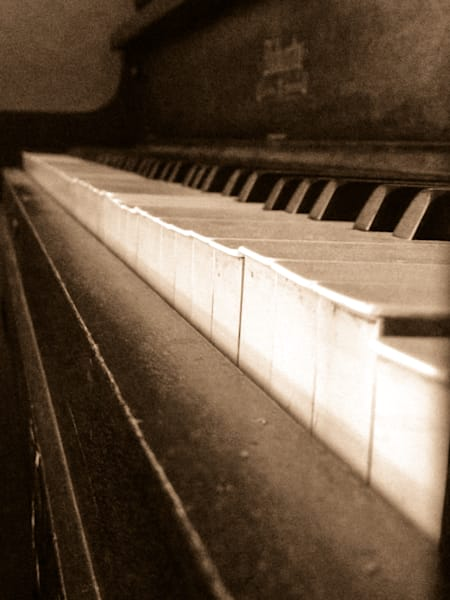 Sepia & gritty abstract photograph of piano keys, for sale as fine art by Sage & Balm