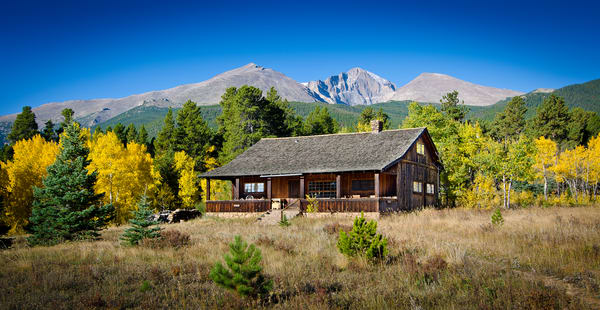 Old Colorado Ranch House Yellow Aspen Trees & Longs Peak