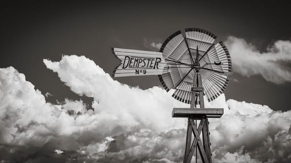 B&W Photo of Colorado Farm Dempster N. 9 Windmill