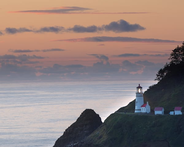 Heceta Head Lighthouse at Sunset Photo in Canvas, Metal, and framed print.