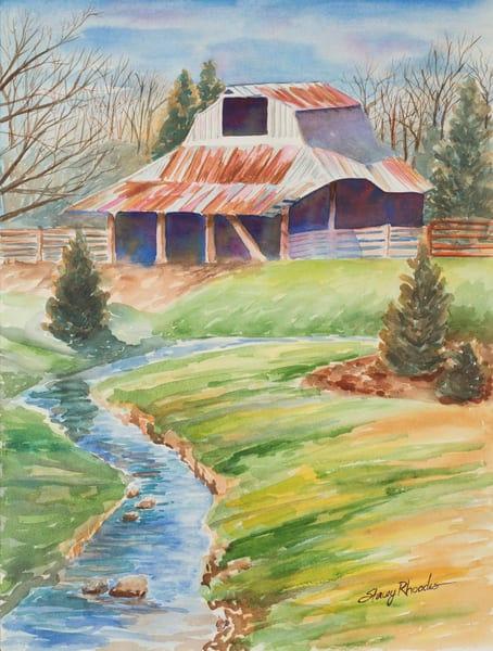 Rustic Creek Barn Ozark Painting