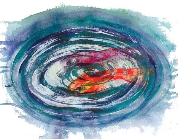 Vibrant magenta koi abstract watercolor at boudreau.art.com