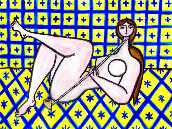 Nude with Pipe in Yellow and Blue Interior Painting by Wet Paint NYC Artist Paul Zepeda
