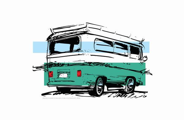 aqua vw bus camper
