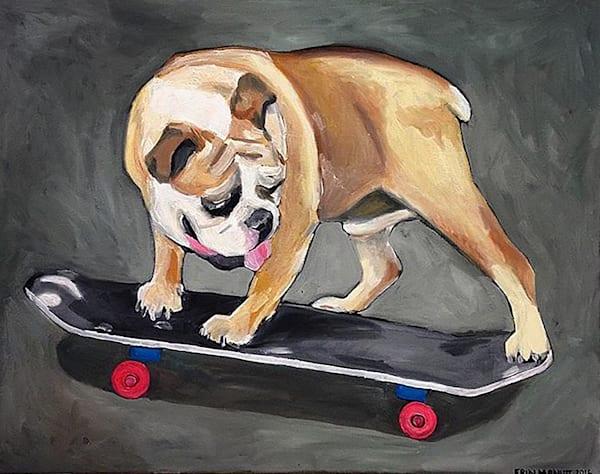 Bulldog on a Skateboard by Erin McNutt