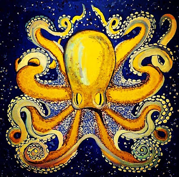 Gold Octopus in Blue by Erin McNutt