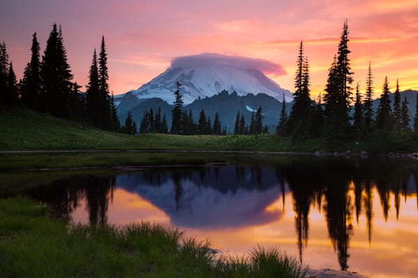 Upper Tipsoo Lake Sunset Photograph for Sale as Fine Art