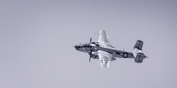 Vintage B-25 Mitchell Super Rabbit In The Air Monochrome fleblanc
