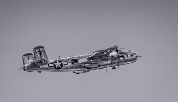 Historic B-25 Mitchell Super Rabbit In The Air Monochrome fleblanc