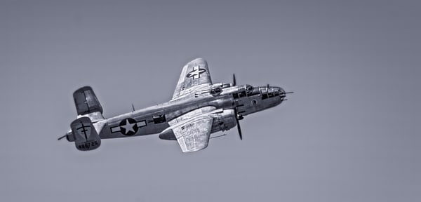 Vintage B-25 Mitchell Super Rabbit In The Air Black & White fleblanc