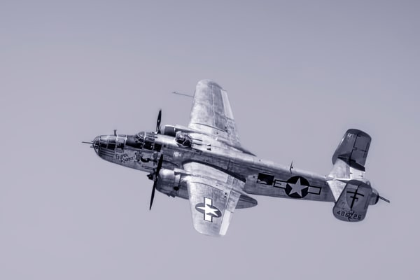 Historic B-25 Mitchell Super Rabbit In The Air Black & White fleblanc