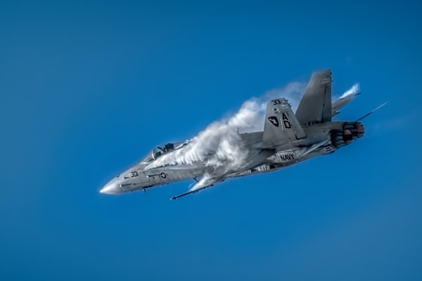 Modern F/A-18F Super Hornet Condensation Supersonic fleblanc