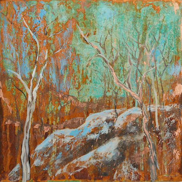 Smoky Mountain Path, original acrylic and mixed media painting by Holly Whiting