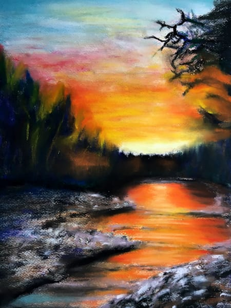 Sue's River, original pastel art by Holly Whiting