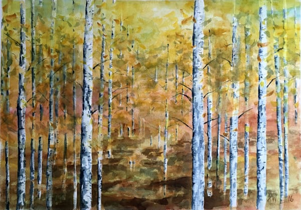Aspen Forest, watercolor painting by Holly Whiting