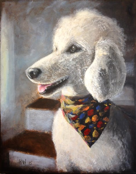 Poodle painting, standard poodle waiting at the window