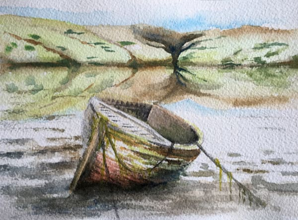 Boat, watercolor painting by Holly Whiting