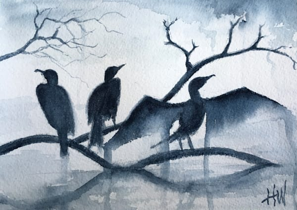 Cormorants painting