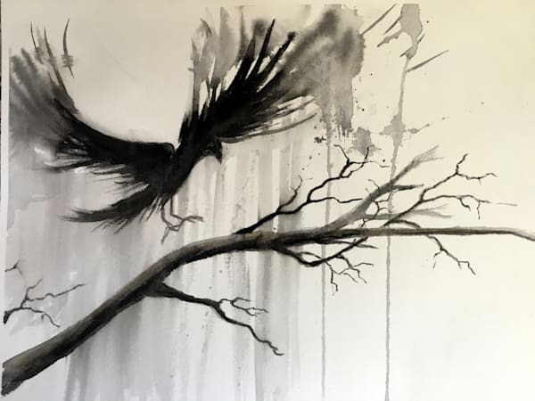Crow Landing watercolor painting