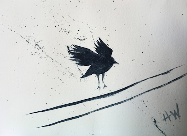 Crow landing on wire watercolor painting
