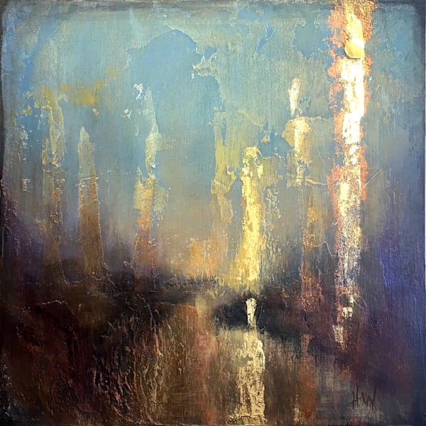 Golden reflection mixed media painting by Holly Whiting